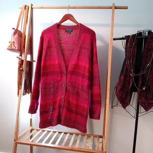 Mohair Blend Striped Pink Cardigan Knit Sweater S